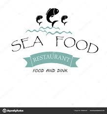Restaurant Name And Logo Vector Logo Banner Advertising Restaurant Name Blue Fish Waves Text