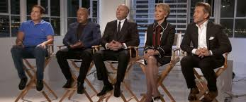 the sharks of abcs shark tank appear during an interview for abc news