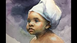 watercolor portrait painting of a child