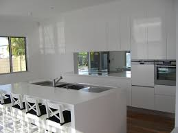 For Kitchen Splashbacks Mirror Splashback Kitchen With White Push Open Doors No Handles