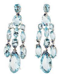 blue topaz quartz sapphire diamond chandelier earrings
