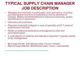 Supply Chain Job Description Rome Fontanacountryinn Com