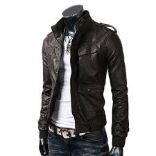 slim ed mens dark brown leather jacket in black leather coat for men