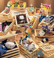 wooden crates and gift baskets