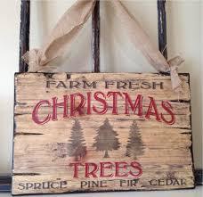 Christmas Signs Vintage Typography Christmas Tree Wood Sign Art Holiday Sign