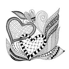 background with ornamental two heart doodle and zentangle style background wallpaper decorative element design for coloring book page