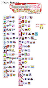 Tamagotchi V2 Chart My Tamagotchi Idl 15th Anniversary Happy Symbols Chart In