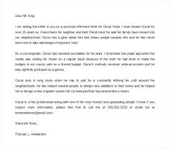 Sample Personal Reference Letter Of Recommendation Proper