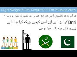 Army Height And Weight Chart Calculator Height Weight And Bmi Reuqirment For Pakistan Army Youtube