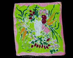 1940s Vegetable Patch Rayon Scarf by Marcel Vertes for Wesley Simpson –  Vintage Vixen Clothing LLC --- 941.627.2254