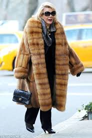 joan rivers stepped out in midtown manhattan wearing a gigantic fur coat