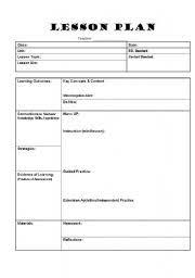 teacher lesson plan template worksheet lesson plan template