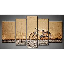 5 panel wall art old rusty vintage bicycle near the wall painting pictures print on canvas architecture the picture for home modern decoration piece  on wall art old picture frames with vintage canvas wall art amazon