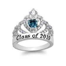 Jostens Class Ring Size Chart Details About 925 Sterling Silver School Class Of 2019 Graduation Blue Topaz Cz Ring Size 5 10