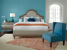 Bedroom:Bright Bedroom Design With Light Blue Accent Wall Color And Orange  Floral Rug Ideas