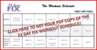 21 Day Fix Workout Schedule Free Pdf Download