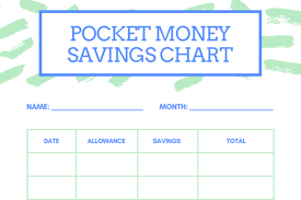 Pocket Money Savings Chart For Kids Stay At Home Mum