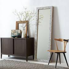 floor mirror. Parsons Floor Mirror - Gray Herringbone