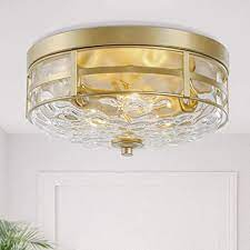 Ksana Gold Modern Flush Mount Ceiling Light Fixture With Water Ripple Glass For Bedroom Hallway Kitchen Dining Living Room Foyer And Bathroom Amazon Com