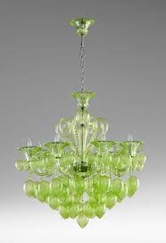green glass crystal chandelier 8 light murano style hand blown dramatic