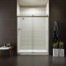 kohler levity 59 in x 74 in frameless sliding shower door in nickel with