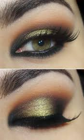 gold and green smokey eye