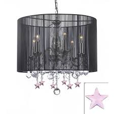 harrison lane empress 6 light black chandelier with black shade and pink crystal stars