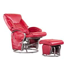 shermag swivel glider recliner and ottoman red bonded leather