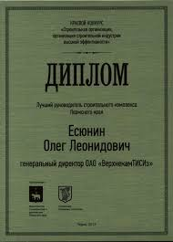 Генеральный директор ОАО ВерхнекамТИСИз Олег Есюнин стал лучшим  Диплом Есюнин001 2