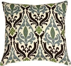 blue and green throw pillows. Linen Damask Print Blue Brown 18x18 Throw Pillow From Decor And Green Pillows