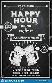 Happy Hour Flyer Happy Hour Poster For Advertising Beer Mug On Chalkboard