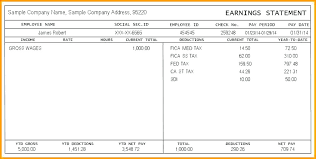 Earnings Statement Template Payroll Statement Of Earnings Template ...
