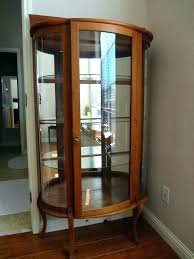 antique curio cabinet with curved glass rare quartered oak diminutive cabinets for cu rounded