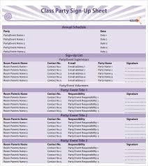 Parent Sign Up Sheet Sample Sign Up Sheet 13 Example Format