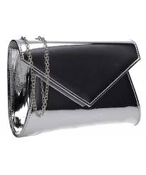 metallic envelope leather clutch bag