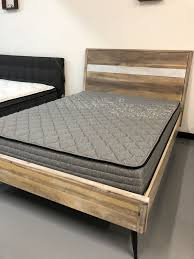 New Distressed Wood Bed Frame • Queen / King / California King • Mattress Set Sold Separately - No Box Spring Required for Sale in Dublin, CA - ...