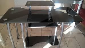 black glass top desk swivel computer desk