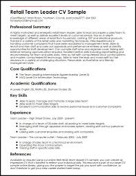 team leader cv examples retail team leader cv sample myperfectcv