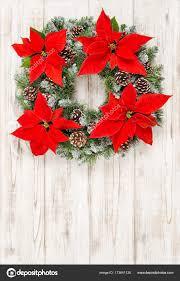 Weihnachten Kranz Roter Weihnachtsstern Aus Holz Blumen