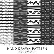 フリー素材 手描きタッチの柄がシックでおしゃれなモノクロパターンセット