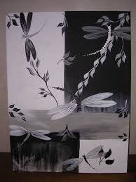 large black white silver draogon fly canvas