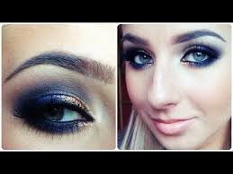 prom makeup tutorial quick navy blue smokey eye