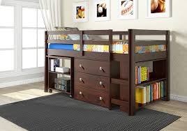 com donco kids 760 cp low study loft bed dark cappuccino kitchen dining