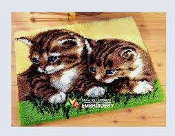 hot latch hook rug kits diy needlework unfinished crocheting rug yarn cushion mat double cats 3d embroidery carpet