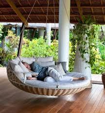 wicker modern round rattan swing bed