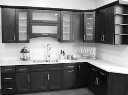 black wooden kitchen cabinet with storage and shelves combined with glass doors and white counter top