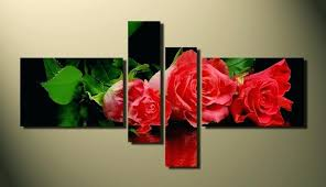 red rose wall art 4 piece wall art home decor red rose multi panel art rose