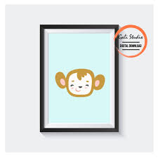 Baby Monkey Blue Printable Poster For Digital Download