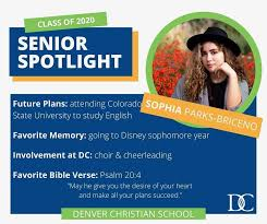 Denver Christian School - Senior Spotlight: Sophia Parks-Briceno👩🎓 . . A  highlight of Sophia's time at DCS was the trip to Disney her sophomore  year, and she participated in choir and cheerleading