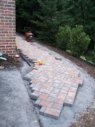 cambridge paver walkway installation paver before 3 paver during 1